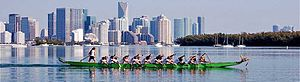 Dragon boat - A dragon boat team (Miami Dragon Slayers) prepares for a race in Miami, FL