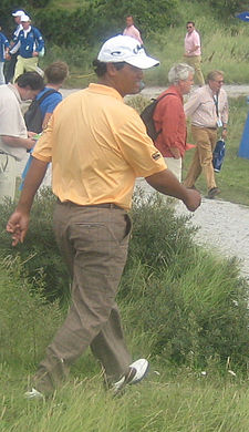 Michael Campbell walks to the 12th tee at the 2007 KLM Open. MichaelCampbell.jpg