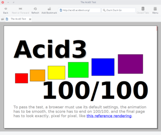 Midori (web browser) - Midori passing the Acid3 test.