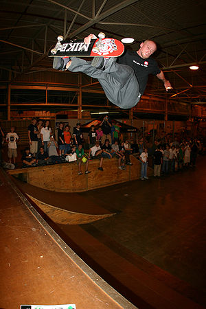 Skateboarding sponsorship - Professional skateboarder Mike Vallely riding a customised MIKE skateboard from then-sponsor Element Skateboards in 2006.