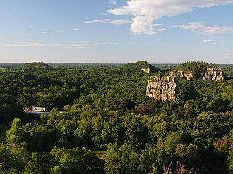 Mill Bluff State Park - The view north from Mill Bluff, with Wildcat Bluff on the left and the two humps of Camels Bluff on the right with Bee Bluff between them