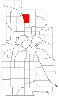 Location of Marshall Terrace within the U.S. city of Minneapolis