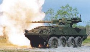 Royal Ordnance L7 - U.S. built M68A1E4 being fired as part of a Stryker Mobile Gun System