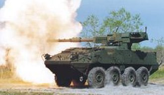 Armoured fighting vehicle -  M1128 Mobile Gun System is an example of a wheeled AFV with a large calibre gun
