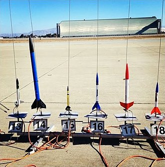 National Association of Rocketry - A rack of low power model rockets ready for flight at a club launch