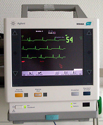 Monitoring (medicine) - Display device of a medical monitor as used in anesthesia.