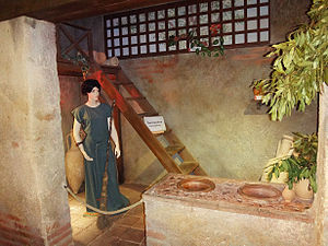 Montans - Roman fast-food shop, Pompeii style, as reconstructed in the Montans archeosite museum, in France.