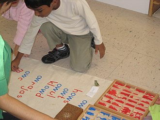 Montessori education - Children working with a moveable alphabet at a Montessori school