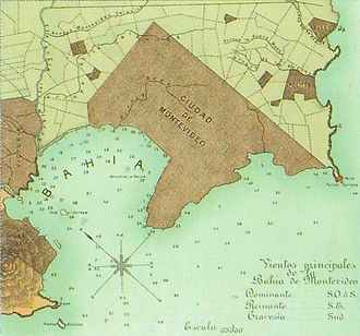 Artigas Boulevard - Detail of an 1893 map of Uruguay showing the actual Artigas Boulevard as the outer limits of the city.