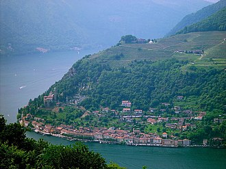 Vico Morcote - View over Morcote and Lake Lugano