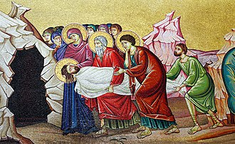 Burial of Jesus - Wall mosaic of entombment of Jesus near Stone of anointing at Church of the Holy Sepulchre.