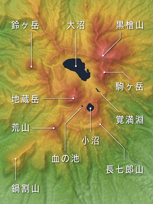 Mount Akagi Mountaintop Relief Map, SRTM-1, Japanese