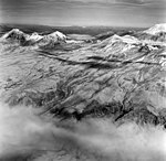Mount Katmai, slope of mountain with volcano in the background, August 22, 1969 (GLACIERS 7035).jpg