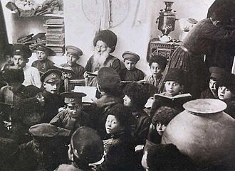 Mountain Jews - Class held at a primary Mountain Jewish school in Quba. Early 1920s.