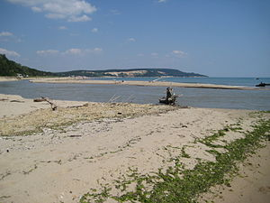 Kamchia (biosphere reserve) - The mouth of the River Kamchia, viewing from the reserve. Note that its spit is currently facing south towards the reserve, and so much of its discharge would be directed towards the reserve's beachfront