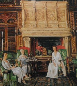Gertrude Vanderbilt Whitney - Mrs. Cornelius Vanderbilt, II and her daughters, Gladys and Gertrude, having tea in the library at the Breakers Newport, Rhode Island, William Bruce Ellis Ranken, 1932