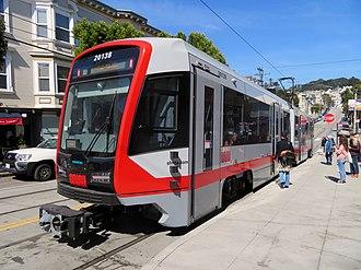 San Francisco Municipal Railway fleet - A Siemens LRV4 train on Muni Metro