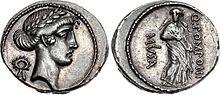 Muse Polyhymnia, Denarius, 56 B.C., Rome.jpg