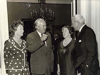 Labour government, 1964–1970 - Harold and Mary Wilson greeting the Prime Minister of Australia Harold Holt and wife Zara in 1967.