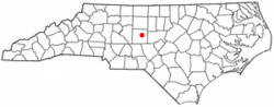 Location of Franklinville, North Carolina