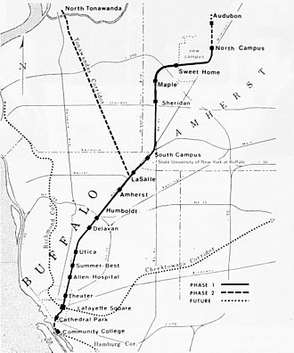 "Buffalo Metro Rail - 1975 ""Projected rail transit route alignment"""