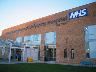 A modern hospital building of the United Kingdom's National Health Service in Norfolk. The UK operates a system of publicly funded health care, free for everyone at the point of use.