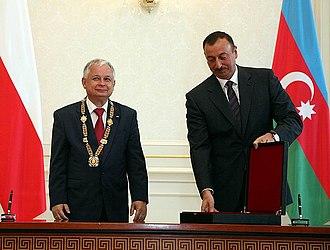 Heydar Aliyev Order - President İlham Aliyev presented the order to Former Polish President Lech Kaczyński, 2 July 2009