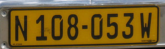 Vehicle registration plates of Namibia - Namibian plate from Windhoek