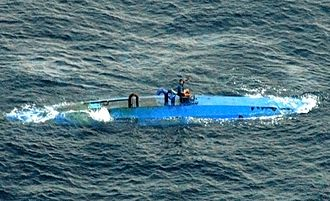 Narco-submarine - Narco-submarine moments before interception by the U.S. Coast Guard in August 2007.