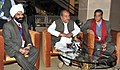 Narendra Singh Tomar interacting with the media after the 54th Central Geological Programming Board Meeting, in New Delhi on February 05, 2015. The Secretary, Ministry of Mines, Dr. Anup K. Pujari is also seen.jpg