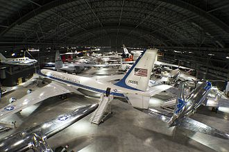 National Museum of the United States Air Force - An overhead gallery view of the fourth building aircraft at the National Museum of the United States Air Force including the Boeing VC-137C SAM 26000 used as Air Force One by Kennedy, Johnson, and Nixon.