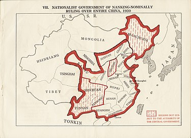 Nationalist government of Nanking - nominally ruling over entire China in 1930s Nationalist government of Nanking - nominally ruling over entire China, 1930 (2675972715).jpg