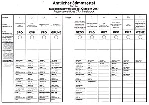 Austrian legislative election, 2017 - Official election ballot (sample)