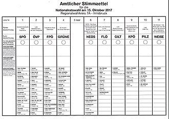 2017 Austrian legislative election - Official election ballot (sample)