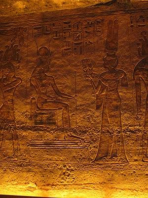 Nefertari - Nefertari depicted offering sistrums to Hathor in her smaller temple of Abu Simbel