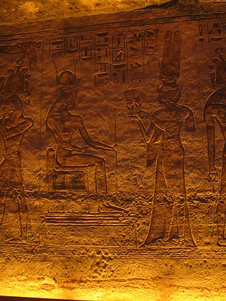 Nefertari - Nefertari depicted offering sistrums to Hathor in her smaller temple of Abu Simbel