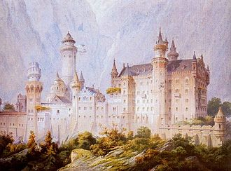 Neuschwanstein Castle - Neuschwanstein project drawing (Christian Jank 1869)