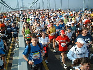 New York City Marathon - Thousands of runners on Verrazano-Narrows Bridge.