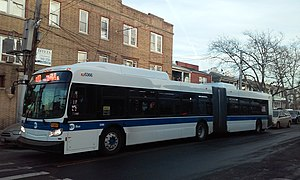 Q10 (New York City bus) - Image: New flyer XD60 on Q10 route