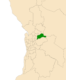 Map of Adelaide, South Australia with electoral district of Newland highlighted