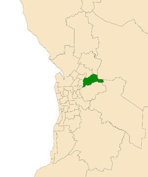 Electoral district of Newland - Electoral district of Newland (green) in the Greater Adelaide area