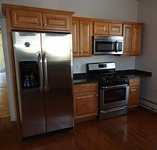 Stainless steel built-in appliances around kitchen cabinets. & Kitchen cabinet - Wikipedia