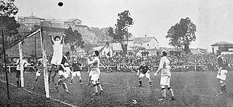 Soccer in Australia - The first Australia national team playing in game 2 against New Zealand during Australia's first ever tour to New Zealand in 1922