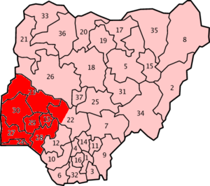 Nigerian States where Yoruba is spoken.