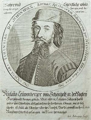 Swiss peasant war of 1653 - A contemporary engraving of Niklaus Leuenberger, the most prominent peasant leader of 1653. Schönholz is a hamlet on the territory of the village of Rüderswil.