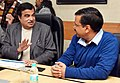 Nitin Gadkari and the Chief Minister of Delhi, Shri Arvind Kejriwal in a meeting regarding issues about Yamuna River, in New Delhi.jpg