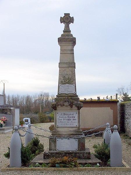 War memorial of Noaillac (Gironde, France)