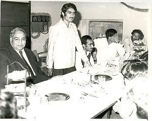Mir Nooruddin Mengal -  Nooruddin Mengal giving a speech in Lahore as the Vice Chairman of BSO. Mahmud Ali Kasuri (left) is sitting beside him.