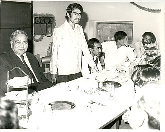 Mir Nooruddin Mengal -  Nooruddin Mengal giving a speech in Lahore as the Vice Chairman of BSO. Mahmud Ali Kasuri (left) is sitting beside him.