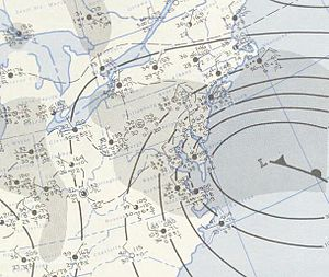 March 18–21, 1958 nor'easter - Image: Nor'easter 1958 03 20 weather map